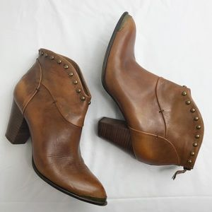 BMakowsky Brown Distressed Studded Bootie 8.5M